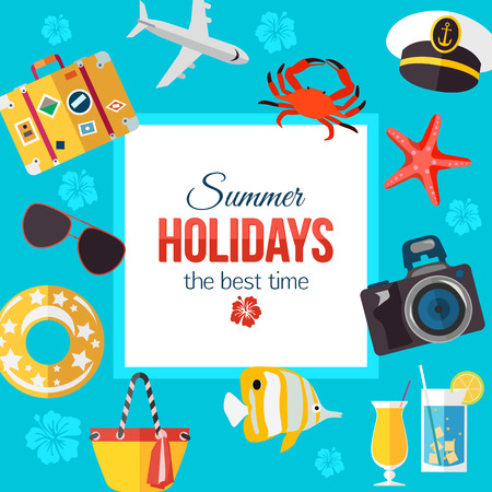 summertime: Summertime typographical background with place for text. Flat style design. Vector illustration.