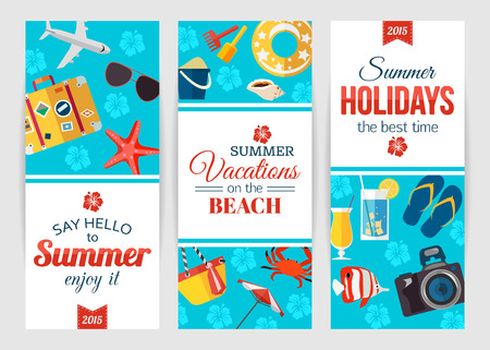 summertime: Summertime typographical banners with place for text. Flat style design. Vector illustration. Illustration