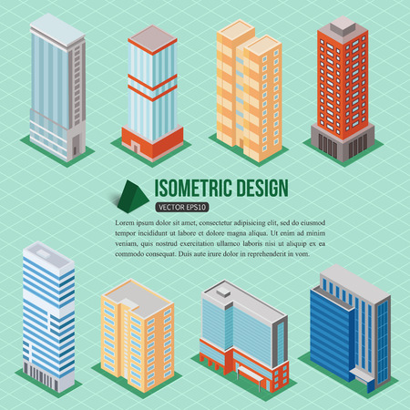tall buildings: Set of 3d isometric tall buildings icons for map building. Real estate concept. Vector illustration.