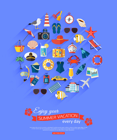 every: Enjoy your summer vacation every day. Summer typographical background with place for text and flat summer icons. Vector illustration. Illustration