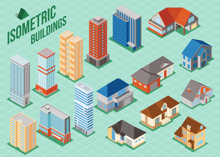 building estate: Set of 3d isometric private houses and tall buildings icons for map building. Real estate concept. Vector illustration. Illustration