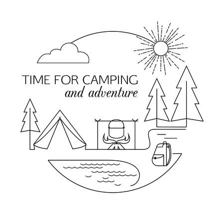 camping: Time for Camping and Adventure. Camping and forest travel and tourism outline background. Minimalistic linear travel vacation landscape with forest, bonfire, rucksack and tent. Vector illustration.