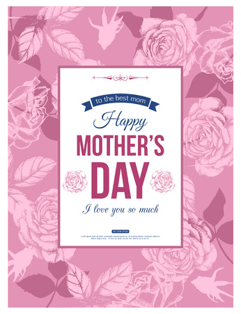 Happy Mothers Day Typographical Background With Hand Drawn Roses and Place for Text. Illustration