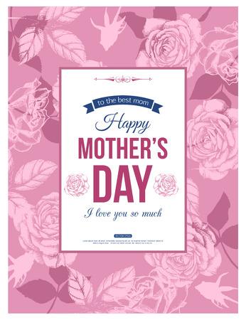 与手拉的玫瑰和地方的愉快的母亲节印刷背景文本的。