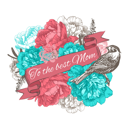 To The Best Mom. Happy Mothers Day Typographical Background With Hand Drawn Peonies and Place for Text.