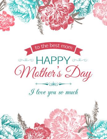 Happy Mother's Day Typografische Achtergrond Met Hand Getrokken Peonies En Plaats Voor Tekst. Stockfoto - 52205147