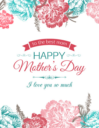 Happy Mothers Day Typographical Background With Hand Drawn Peonies and Place for Text. 矢量图像