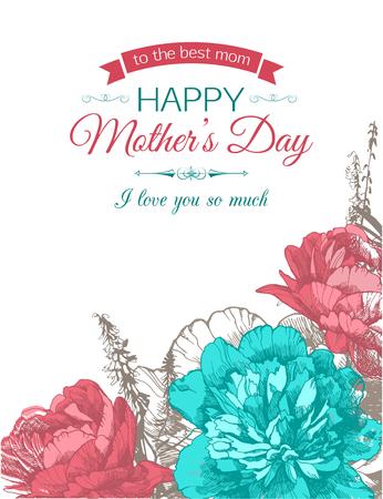 母亲节快乐字体背景与手绘牡丹和文字的地方。