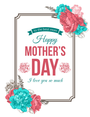 Happy Mothers Day Typographical Background With Hand Drawn Peonies and Place for Text.