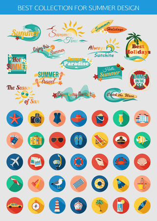 Big collection of summer typographical elements for design and colorful summer vacation, beach, seaside marine icons with long shadows. Vector illustration.