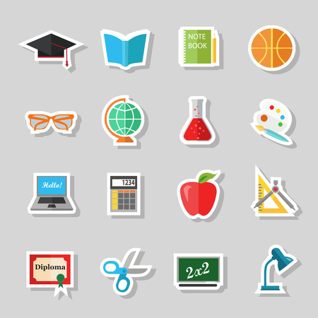 school computer: Back to school and education flat icons with computer, open book, desk, globe and other school supplies. Paper stickers elements. Vector illustration.