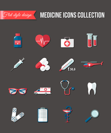 healthcare and medicine: Set of medicine healthcare flat icons. Thermometer, tube, pill, ambulance, heart and teeth care. Vector illustration.