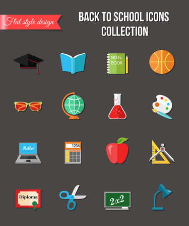 paper background: Back to school and education flat icons with computer, open book, desk, globe and other school supplies. Paper stickers elements. Vector illustration.