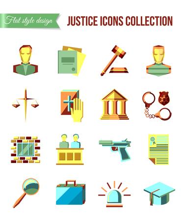 jurado: Acusado en el banquillo. Conjunto de derecho y justicia iconos planos con abogado, jurado de una corte cárcel. Ilustración del vector. Vectores