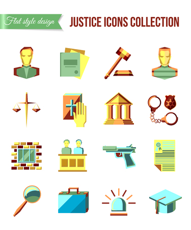 jury: Prisoner at the bar. Set of law and justice flat icons with lawyer, jail court jury. Vector illustration.