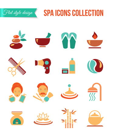 flower bath: Spa treatments for men and women. Set of spa and beauty flat icons. Healthcare salon, haircut, skin care, herbal therapy, cosmetics vector items for medical wellness infographics