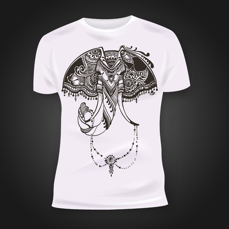 print shop: T-shirt print design with hand-drawn mehendi elephant head.  Ethnic african, indian, totem tatoo design. Vector illustration. Illustration