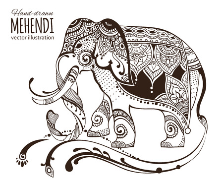 Print design: Hand-drawn mehendi elephant.  Ethnic african, indian, totem tatoo design. Vector illustration. Illustration