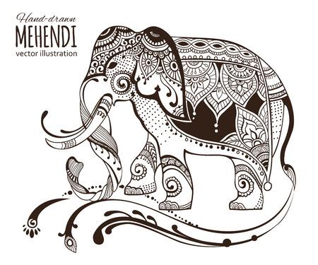 Hand-drawn mehendi elephant.  Ethnic african, indian, totem tatoo design. Vector illustration. Illustration