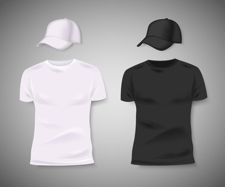 Collection of men black and white t-shirt and baseball cap front side. Blank design for corporate identity. Vector illustration