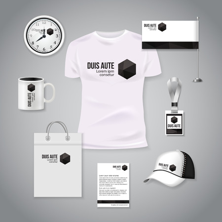 Corporate identity business photorealistic design template. Classic white stationery template design. Watch, T-shirt, cap, flag, package and Documentation for business. Vector illustration. Illustration