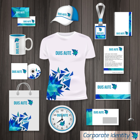documentation: Corporate identity business photorealistic design template. Classic blue stationery template design. Watch, T-shirt, cap, flag, package and Documentation for business isolated on wooden background. Vector illustration