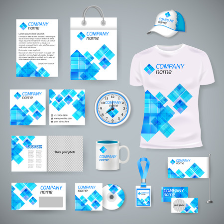 design template: Corporate identity business photorealistic design template. Classic blue stationery template design. Watch, T-shirt, cap, flag, package and Documentation for business. Vector illustration.