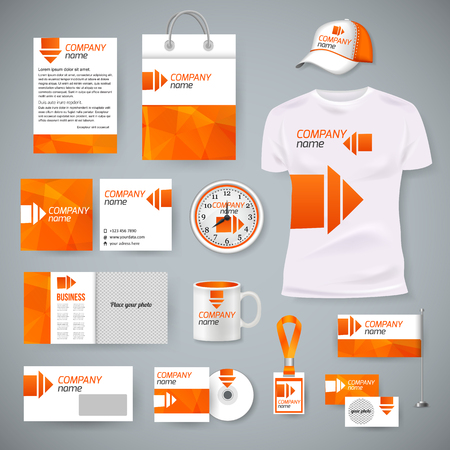 Corporate identity business photorealistic design template. Classic blue stationery template design. Watch, T-shirt, cap, flag, package and Documentation for business. Vector illustration.