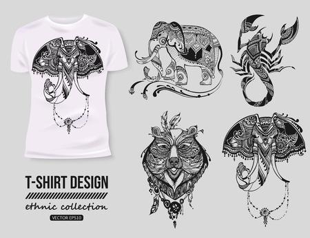 -Shirt Design mit handgezeichneten ethnischen Tiere Sammlung, mehendi Tatoo Stil. Weißen T-Shirt. Ethnische afrikanischen, indischen, totem Tatoo Elefant, Skorpion, Bär Vektor-Illustration.