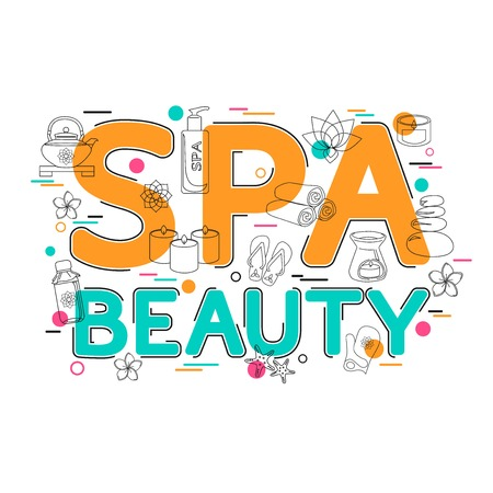 spa salon: Spa and Beauty  - Flat Style, Thin Line Art Design.  Spa and Beauty Background template for banner, poster, flyer, brochure, header, website. Beauty Salon. Beauty Treatment. Spa and Beauty icon.
