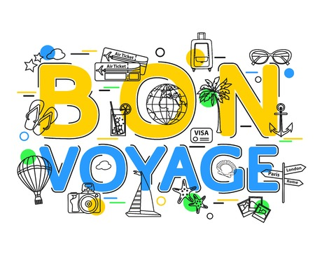 voyage: Bon Voyage Concept with vector icons and elements. Voyage Business background. Voyage Holiday. Travel and Tourism Icons. Flat Style, Thin Line Art Design. Illustration