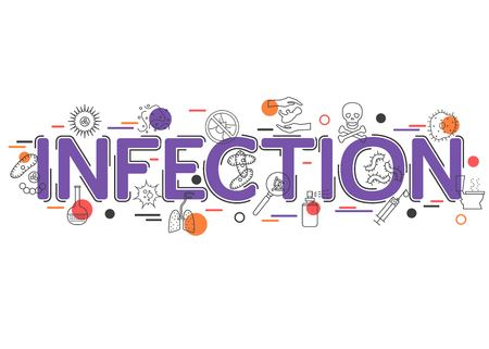 Infection Background with vector icons and elements. Infection Control and Infectious Disease. Virus and Bacteria icon. Flat Style, Thin Line Art Design. Vector illustrator. Vettoriali