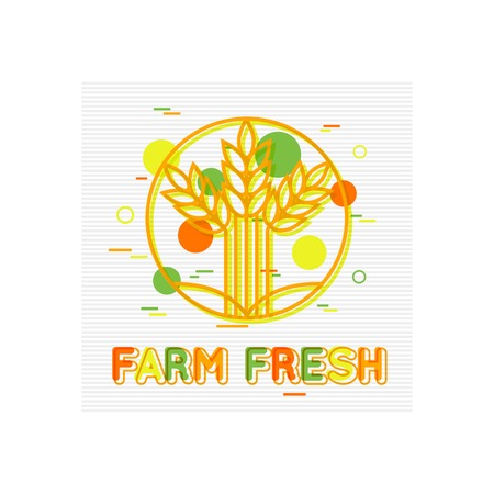 food market: Farm Fresh Concept. Farm Fresh Background. Farm Fresh Banner. Farm Fresh Logo. Farmers market. Fresh Produce. Fresh Food. Flat Style. Vector illustrator. Illustration