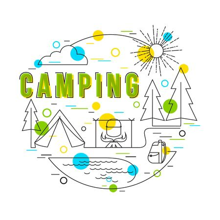 elements of nature: Camping Background with vector icons and elements. Camping Equipment. Summer Camp. Family Camping. Camping Gear. Vector hand drawn camp illustration. Flat Style, Thin Line Art Design.