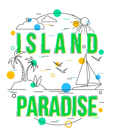 island paradise: Island Paradise Background with vector icons and elements. Vector Summer Holiday Design with Palm trees, Island, Yacht. Paradise Island Bahamas vector illustrator. Tropical Island icon. Illustration