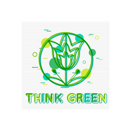water plants: Think Green Concept. Think Green  Banner. Think Green Logo. Think Green Design. Think Green background. Flat Style. Vector illustrator.