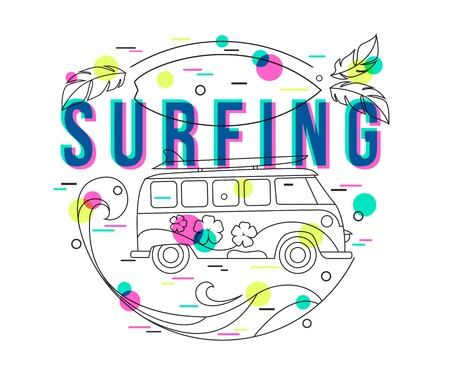 sixties: Summer Surfing Background with mini van and wave. Surfing label design for poster, banner, flyer. Hipster bus. Surfer bus. Flat Style, Thin Line Art Design.
