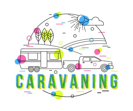 vacation home: Caravaning Background with vector icons and elements. Outdoor traveling vacation illustration. Traveler truck campsite place landscape. Mobile home. Flat Style, Thin Line Art Design.