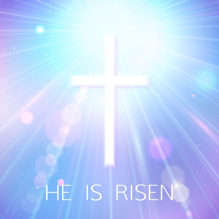 risen christ: Hi is Risen. Happy Easter Blue Background with bokeh, white cross and sun rays. Vector Illustration.
