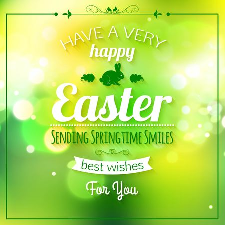 pascuas navideÑas: Happy Easter Typographical Background. Easter - Christian, traditional holiday. Easter Background with bunny, decorative frame and bokeh. Easter Poster. Vector Illustration.