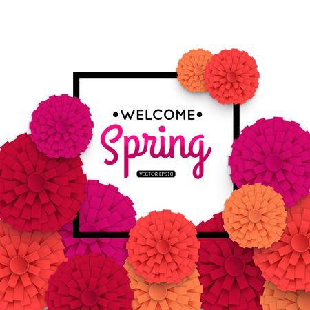 Spring Banner with colorful paper flower and black frame. Spring Sale vector banner. Welcome Spring Banner. Template for advertising flyer, booklet, brochure. Vector Illustration.