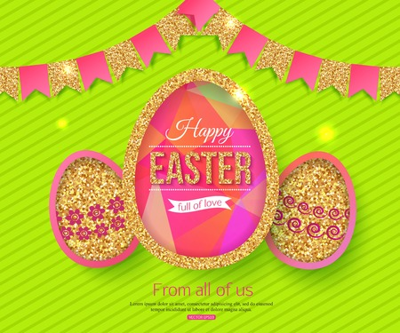 birthday religious: Happy Easter Background. Vector Illustration. Illustration
