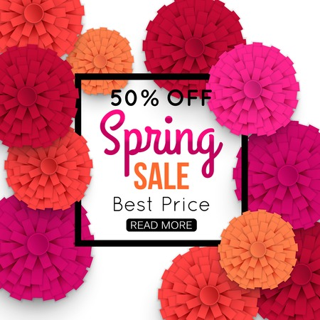 vector banner: Spring Banner with colorful paper flower and black frame. Spring Sale vector banner. Super Spring Sale, 50% off, best price. Vector Illustration.