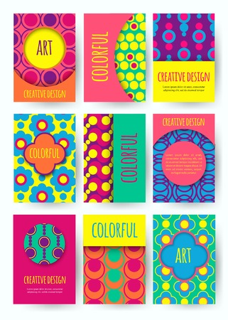 flower power: Hippie card with colorful pattern. Set of vector colorful card. Hippie style. Vector illustration.