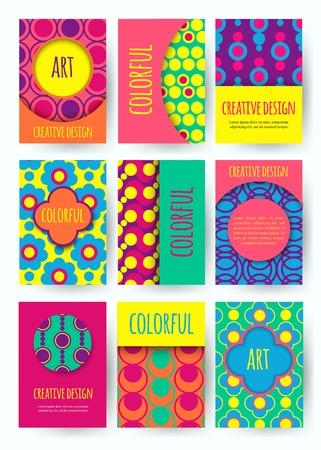 Hippie-Karte mit bunten Muster. Set von Vektor-bunte Karte. Hippie-Stil. Vektor-Illustration.