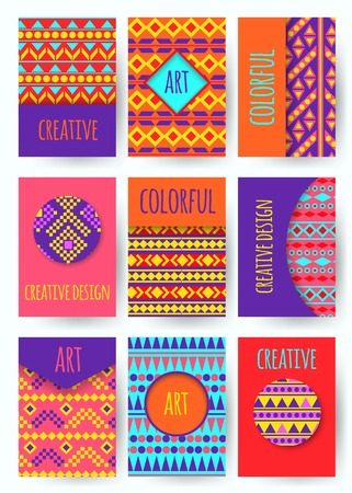 counterculture: Hippie card with colorful pattern. Set of vector colorful card. Hippie style. Vector illustration.
