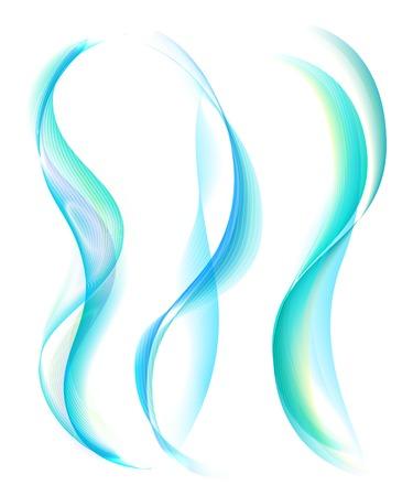 humo de color turquesa suave aislado en el fondo blanco. Colección de líneas de regla de humo. Resumen de humo y fondo de la onda con el bokeh. Plantilla para la bandera, aviador. Ilustración del vector