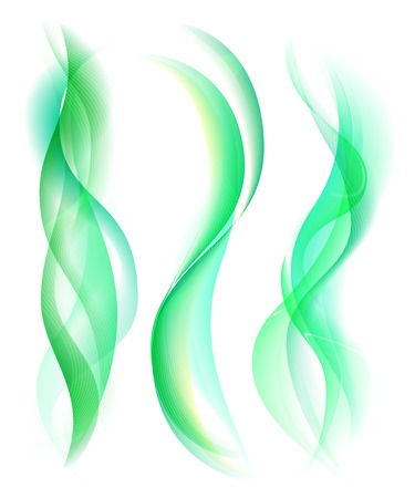 green smoke: Smooth green smoke isolated on white background. Collection of smoke rule lines. Abstract smoke and wave background with bokeh. Template for banner, flyer. Vector Illustration Illustration