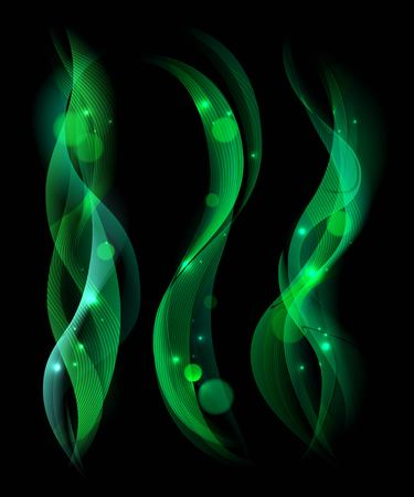 green smoke: Soft green smoke isolated on black background. Collection of smoke rule lines. Abstract smoke and wave background with bokeh. Template for banner, flyer. Vector Illustration