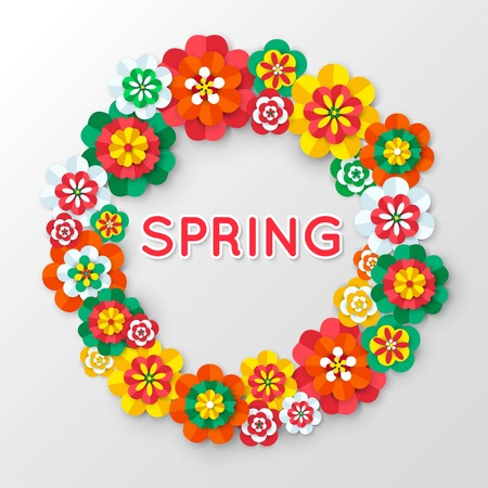 Spring Cutout Paper Flowers. Spring Banner Template. Flowers Frame Vector. Paper Flowers Border. Floral Border. Floral Frame. Vector illustration.